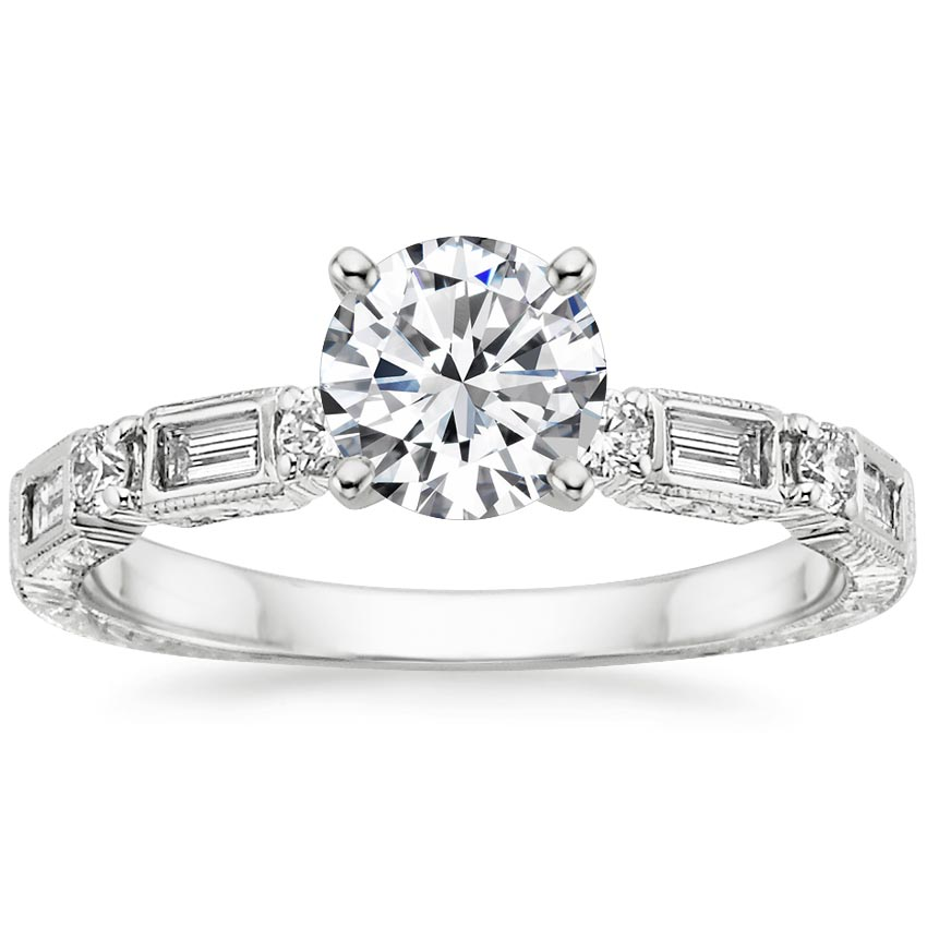 Platinum Vintage Diamond Baguette Ring (1/4 ct. tw.), top view