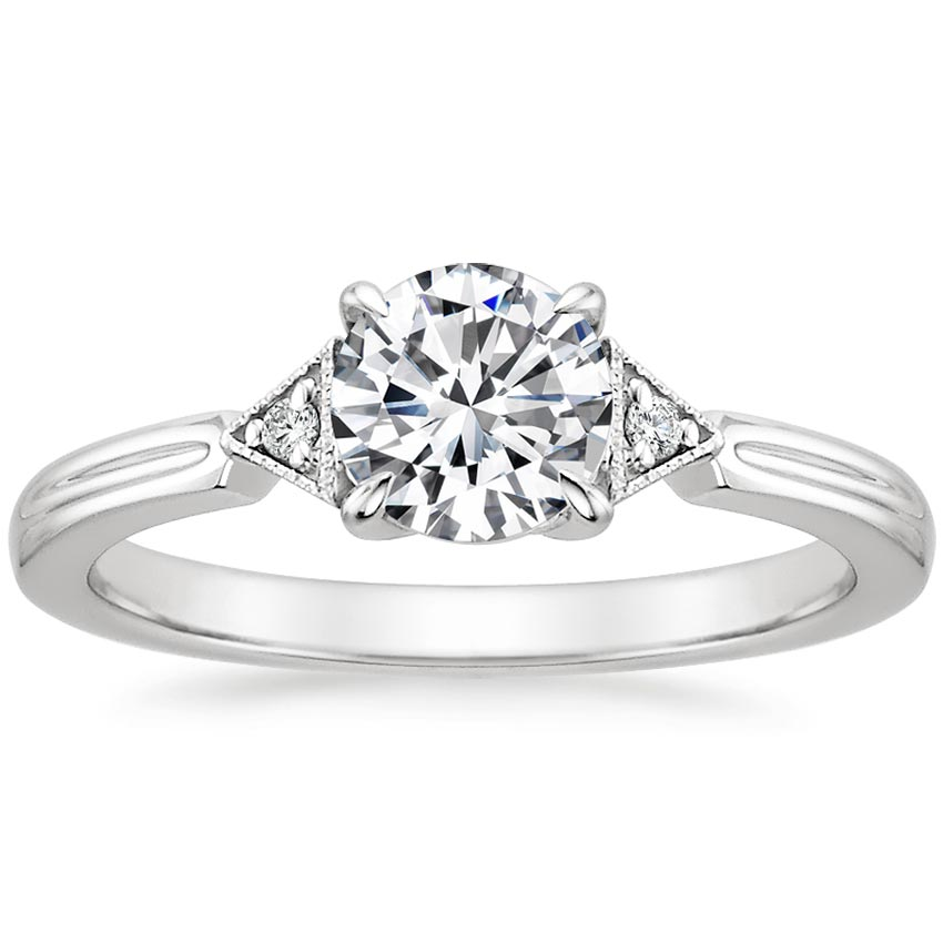 Platinum Olivetta Diamond Ring, top view
