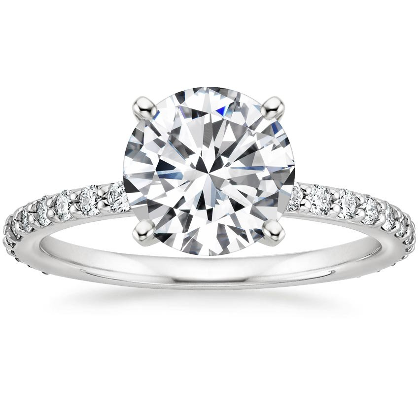 Round 18K White Gold Luxe Petite Shared Prong Diamond Ring (1/3 ct. tw.)