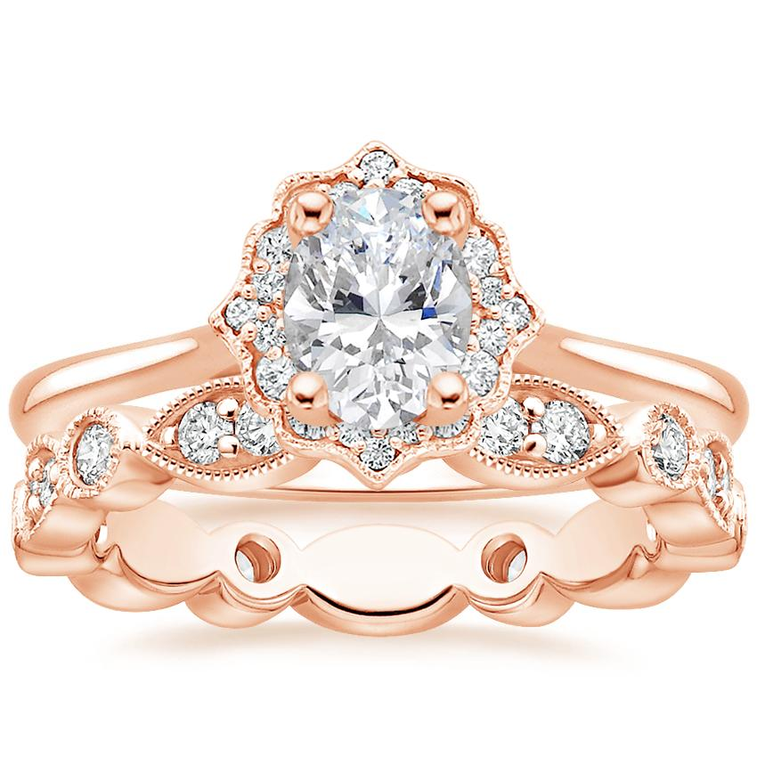 14K Rose Gold Coralie Diamond Ring with Luxe Tiara Eternity Diamond Ring (1/2 ct. tw.)