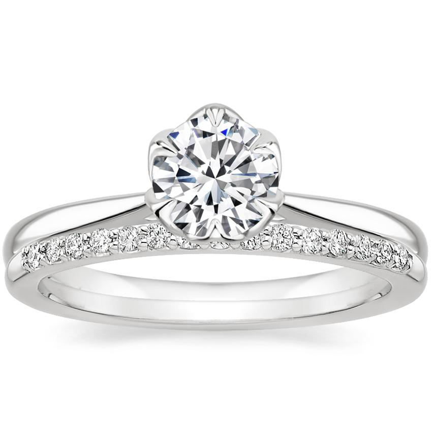 18K White Gold Caliana Ring with Delicate Shared Prong Diamond Ring