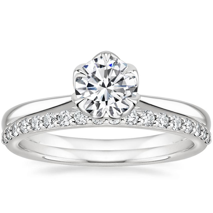 18K White Gold Caliana Ring with Petite Shared Prong Diamond Ring (1/4 ct. tw.)
