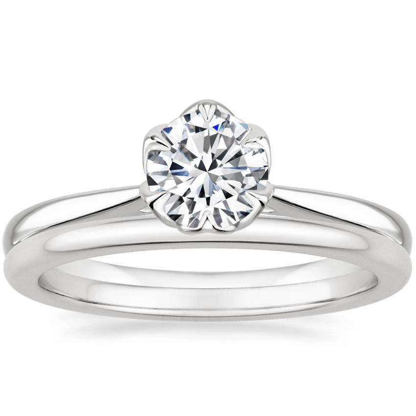 18K White Gold Caliana Ring with Petite Comfort Fit Wedding Ring