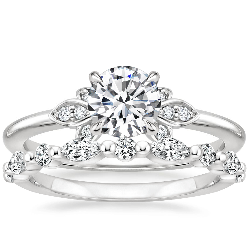 Platinum Fiorella Diamond Ring with Versailles Diamond Ring (2/5 ct. tw.)