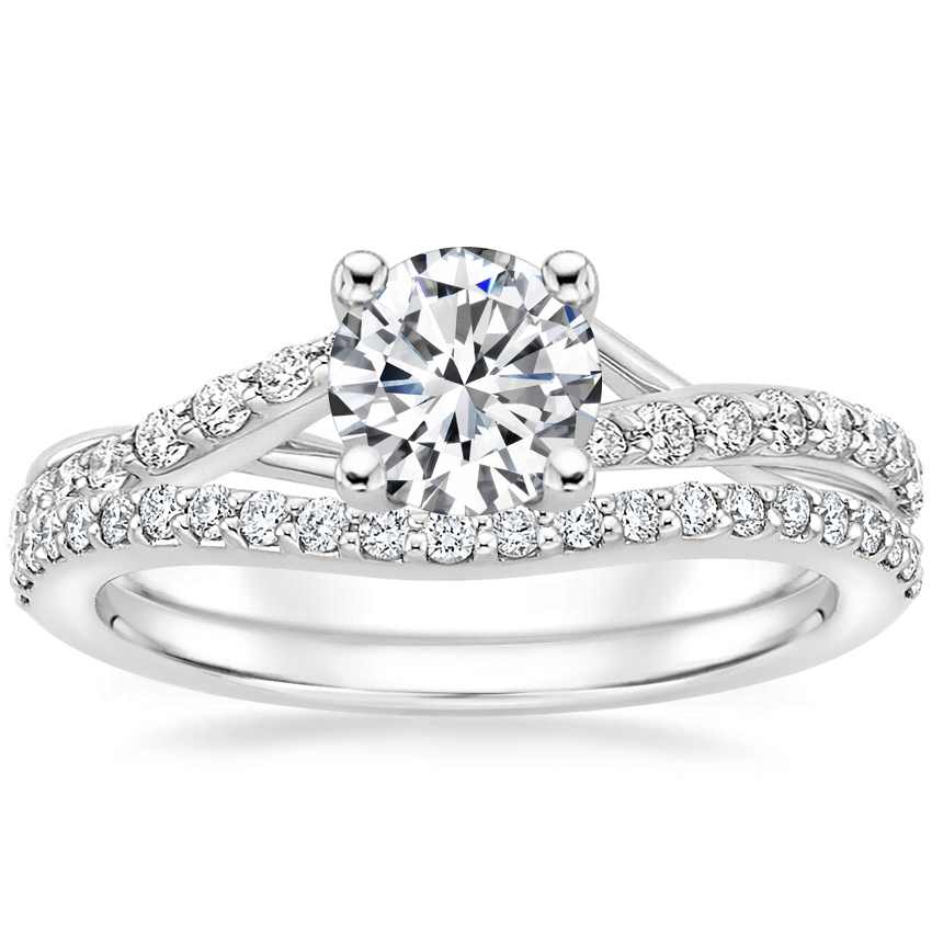 18K White Gold Luxe Chamise Diamond Ring (1/5 ct. tw.) with Curved Diamond Ring (1/6 ct. tw.)
