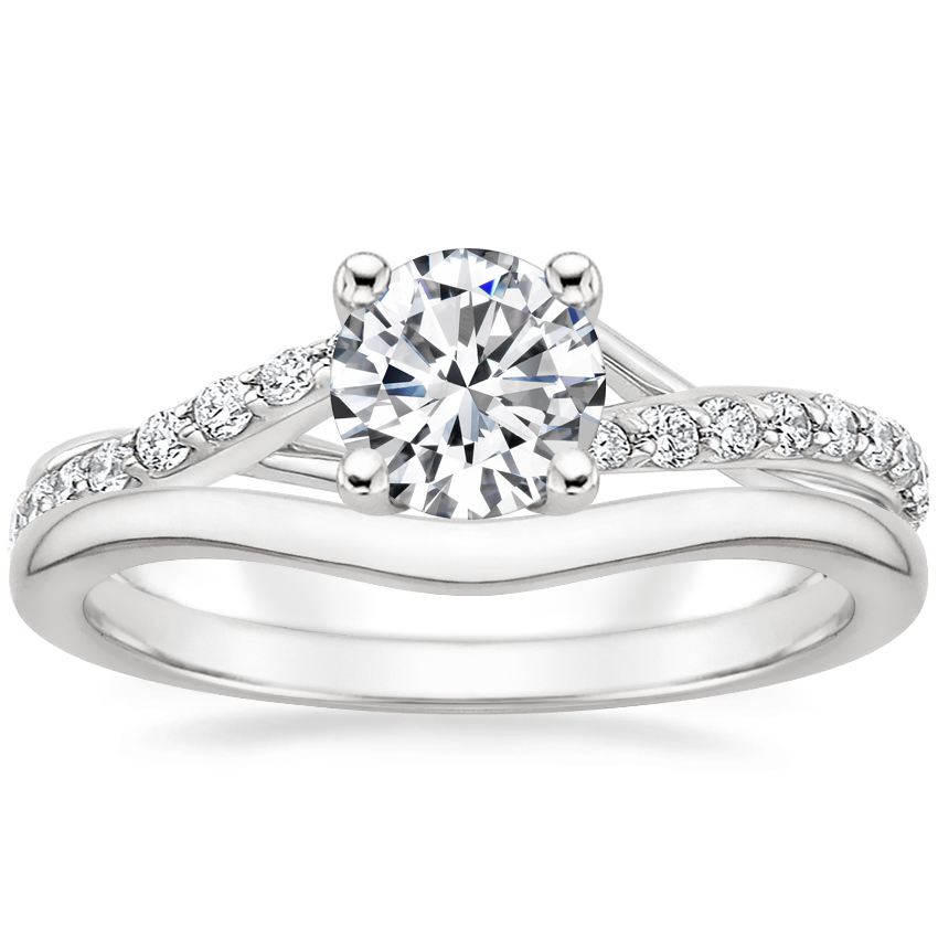 18K White Gold Luxe Chamise Diamond Ring (1/5 ct. tw.) with Petite Curved Wedding Ring