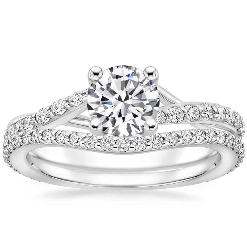 18K White Gold Luxe Chamise Diamond Ring (1/5 ct. tw.) with Luxe Curved Diamond Ring (1/4 ct. tw.)