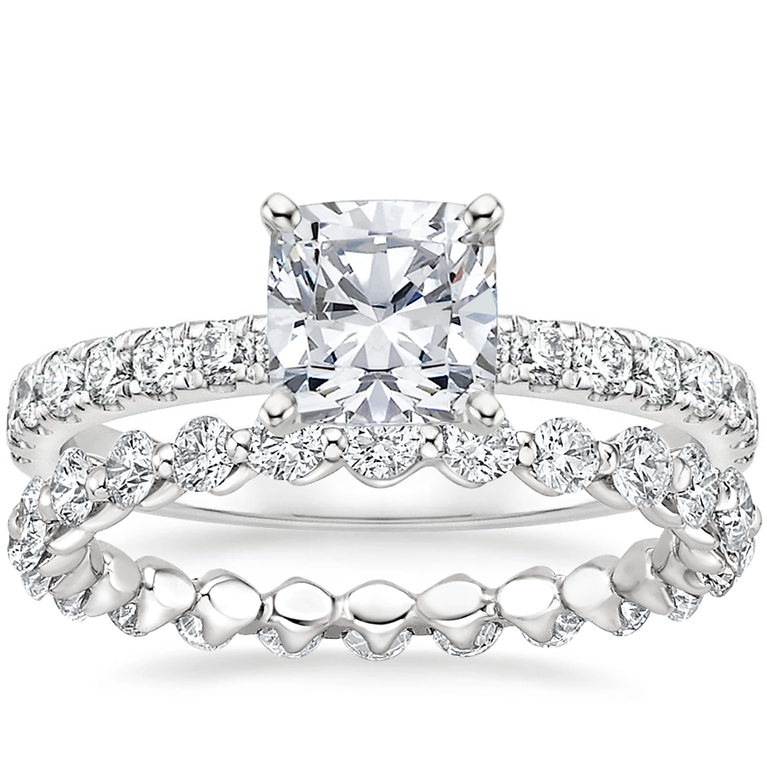 18K White Gold Constance Diamond Ring (1/3 ct. tw.) with Riviera Eternity Diamond Ring (1 ct. tw.)
