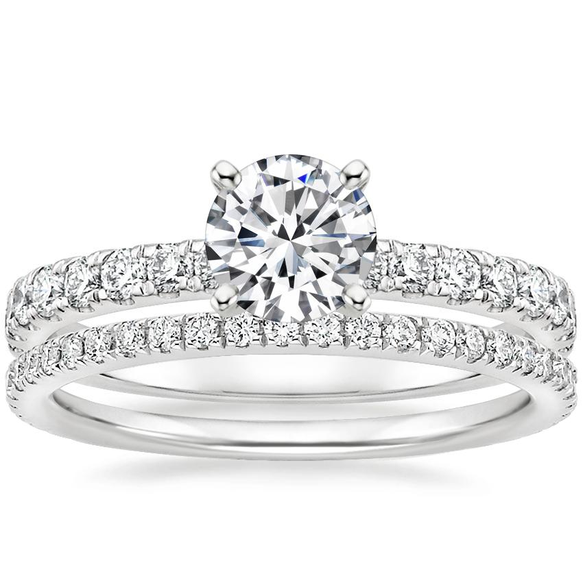 Platinum Constance Diamond Ring (1/3 ct. tw.) with Luxe Ballad Diamond Ring (1/4 ct. tw.)