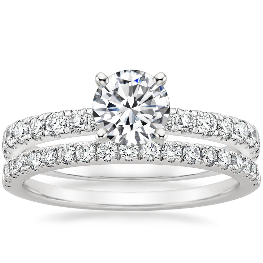 18K White Gold Constance Diamond Ring (1/3 ct. tw.) with Bliss Diamond Ring (1/5 ct. tw.)