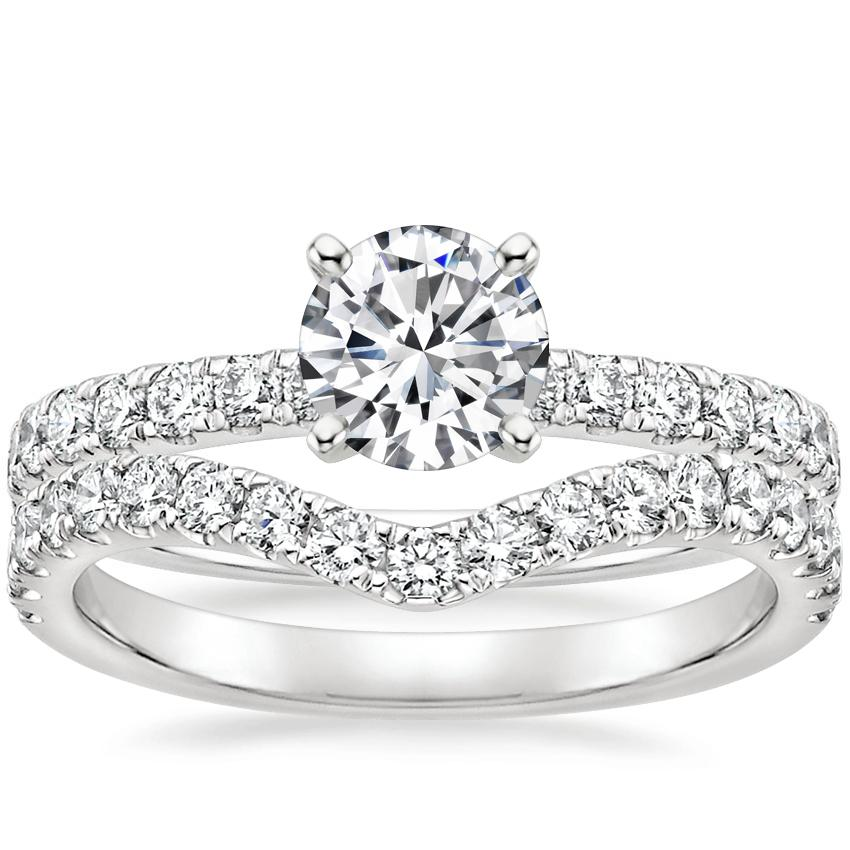 18K White Gold Constance Diamond Ring (1/3 ct. tw.) with Luxe Flair Diamond Ring (1/3 ct. tw.)