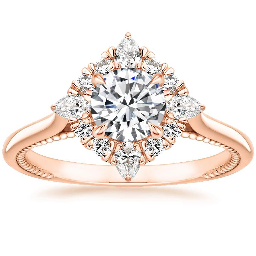 Round Compass Point Halo Diamond Ring