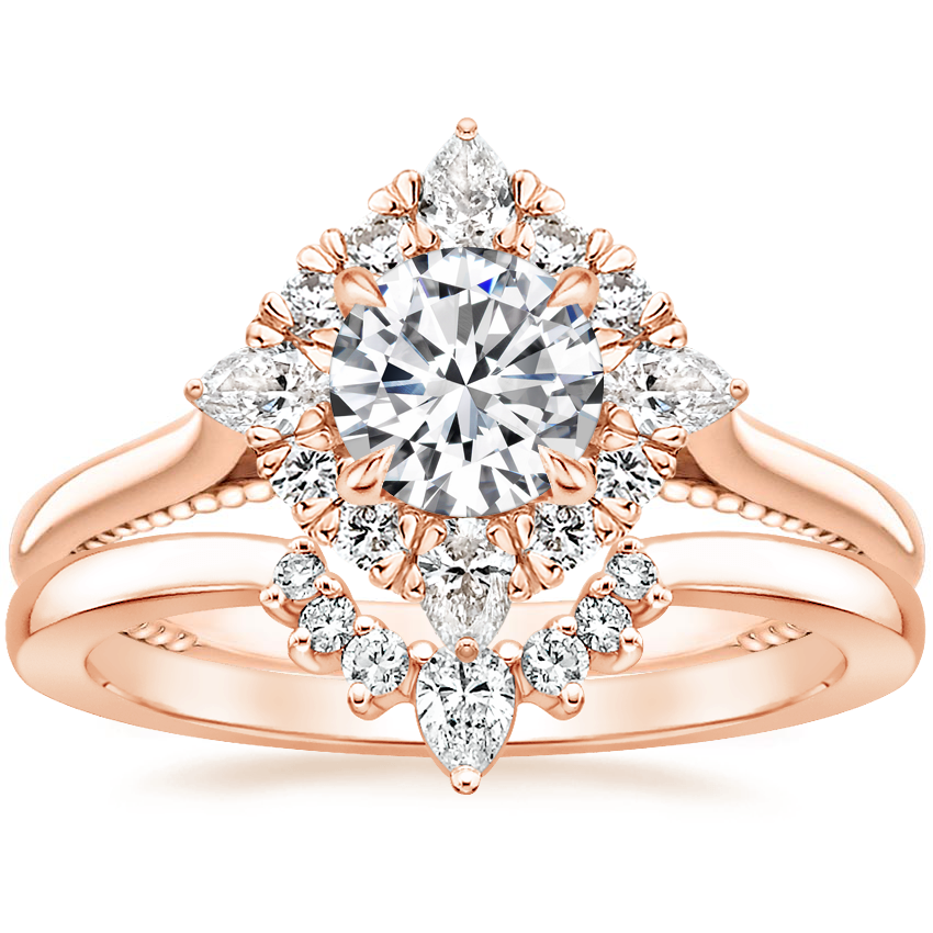 14K Rose Gold Dahlia Diamond Ring (1/3 ct. tw.) with Lunette Diamond Ring