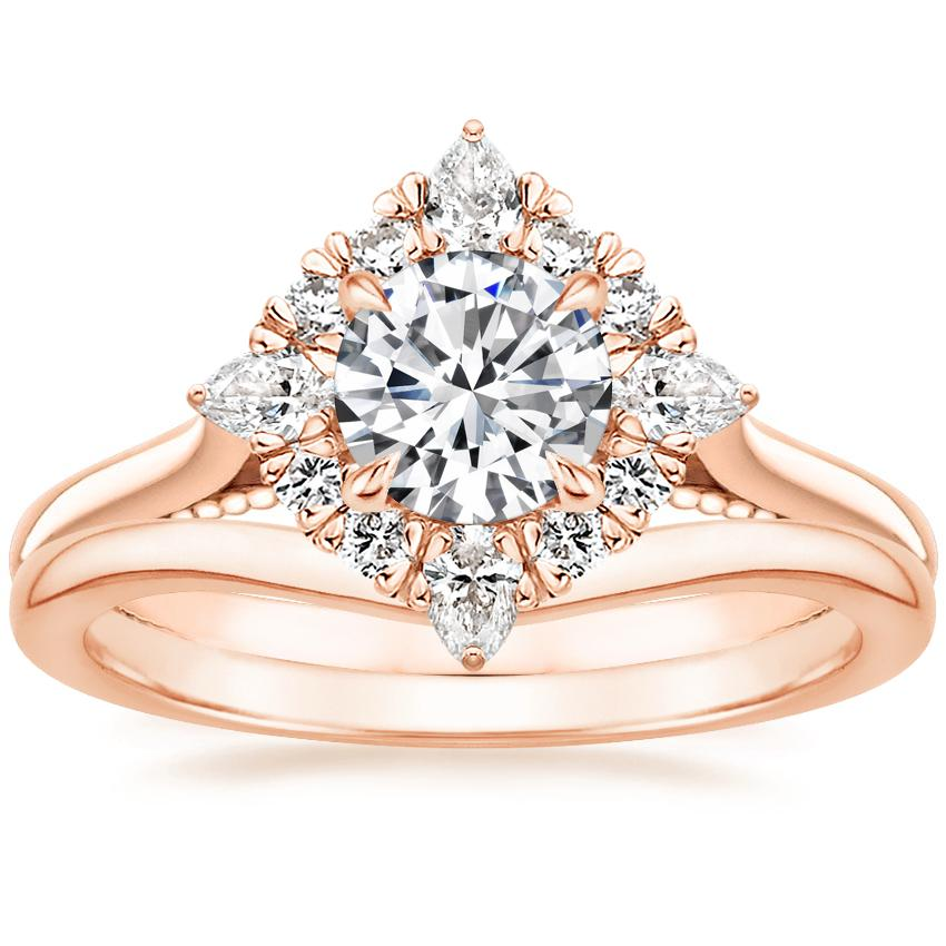 14K Rose Gold Dahlia Halo Diamond Ring (1/3 ct. tw.) with Petite Curved Wedding Ring