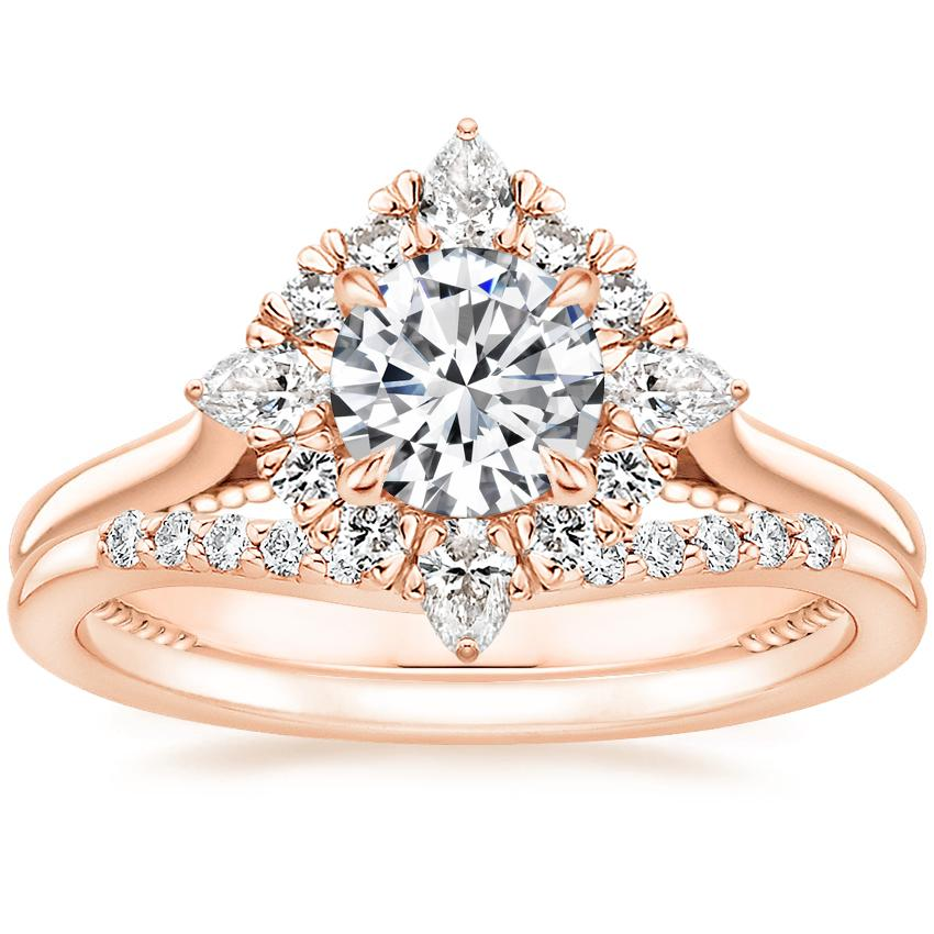 14K Rose Gold Dahlia Halo Diamond Ring (1/3 ct. tw.) with Petite Curved Diamond Ring (1/10 ct. tw.)