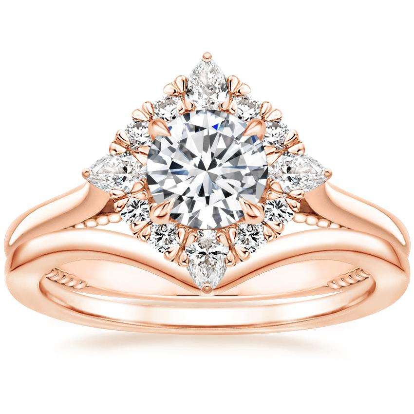 14K Rose Gold Dahlia Halo Diamond Ring (1/3 ct. tw.) with Chevron Ring