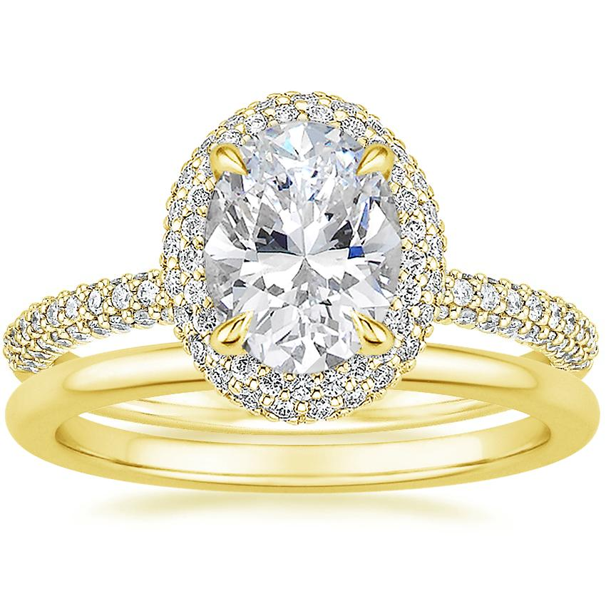 18K Yellow Gold Valencia Halo Diamond Ring (1/2 ct. tw.) with Petite Comfort Fit Wedding Ring