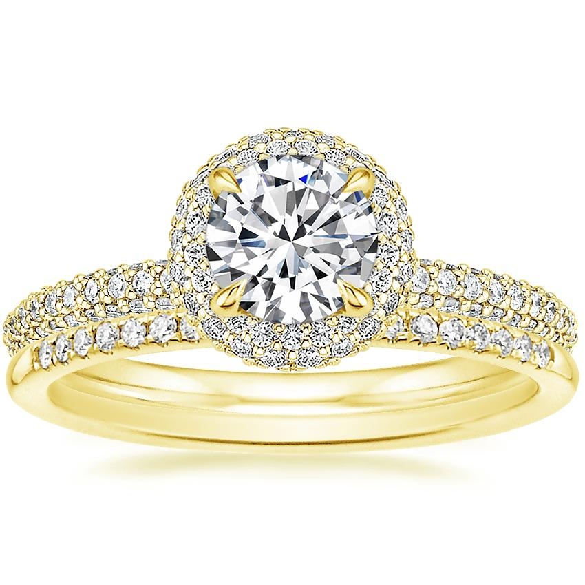 18K Yellow Gold Valencia Halo Diamond Ring (1/2 ct. tw.) with Whisper Diamond Ring (1/10 ct. tw.)