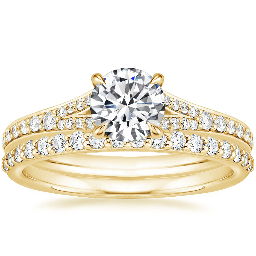 18K Yellow Gold Duet Diamond Ring with Petite Shared Prong Diamond Ring (1/4 ct. tw.)