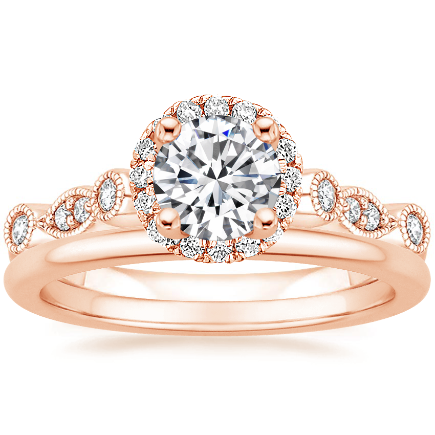 14K Rose Gold Tiara Halo Diamond Ring (1/4 ct. tw.) with Petite Comfort Fit Wedding Ring