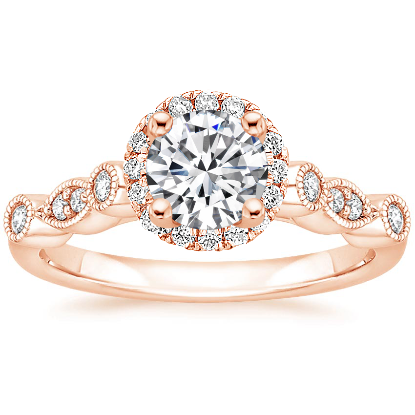 Round 14K Rose Gold Tiara Halo Diamond Ring (1/4 ct. tw.)
