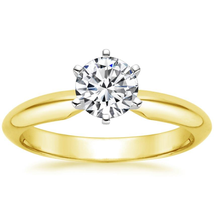Round 18K Yellow Gold Six-Prong Classic Ring