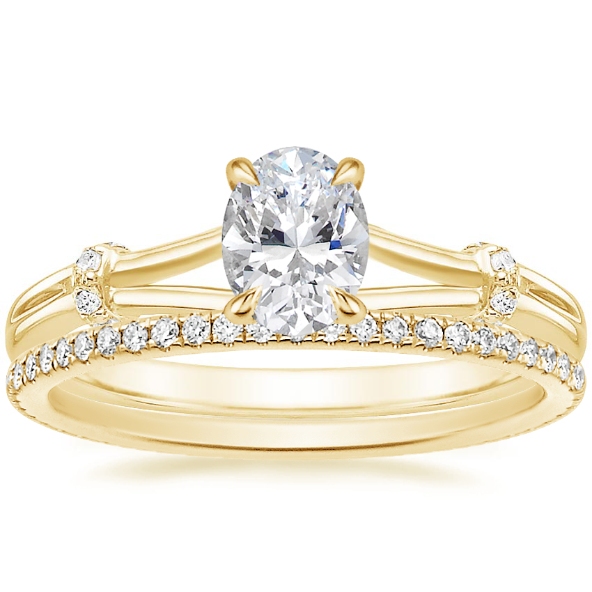 18K Yellow Gold Odelia Diamond Ring with Whisper Eternity Diamond Ring (1/4 ct. tw.)