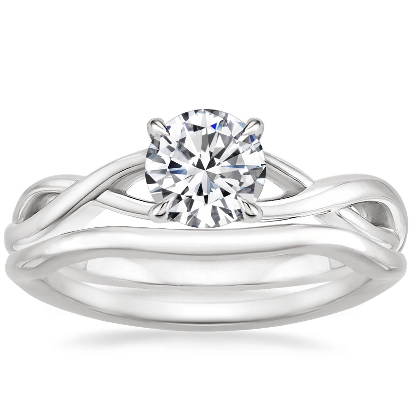 18K White Gold Eden Diamond Ring with Budding Willow Contoured Ring