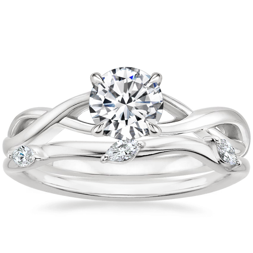 18K White Gold Eden Diamond Ring with Willow Contoured Diamond Ring (1/10 ct. tw.)