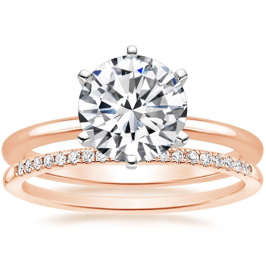 14K Rose Gold Six-Prong Petite Comfort Fit Ring with Whisper Diamond Ring (1/10 ct. tw.)