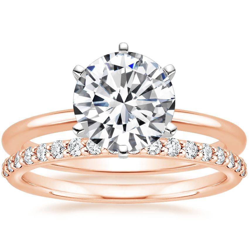 14K Rose Gold Six-Prong Petite Comfort Fit Ring with Petite Shared Prong Diamond Ring (1/4 ct. tw.)