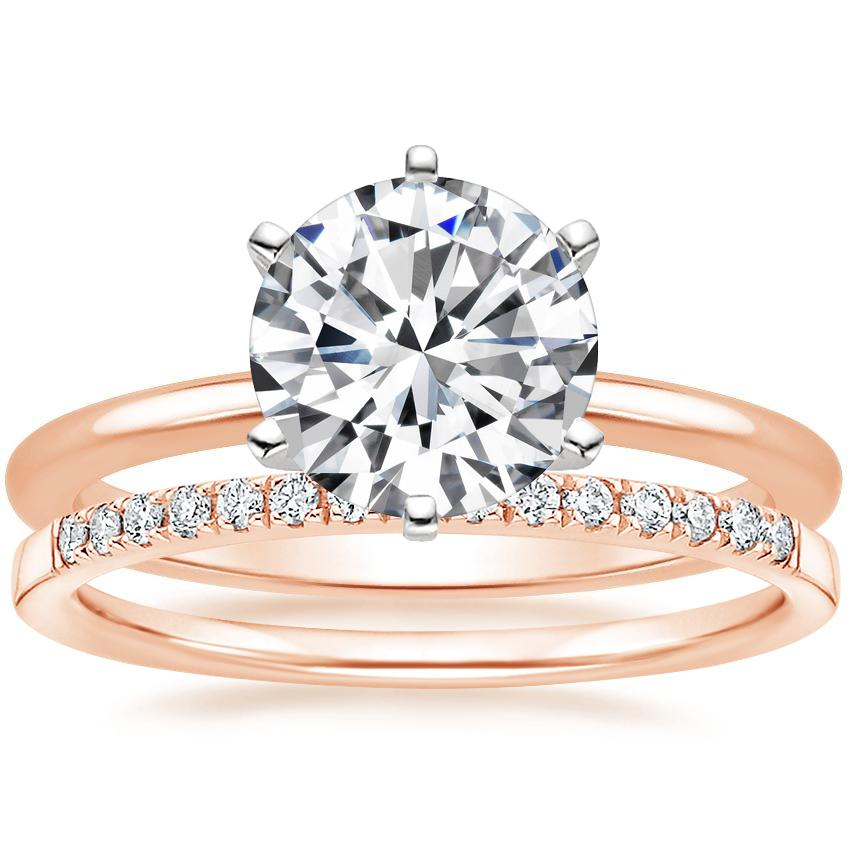14K Rose Gold Six-Prong Petite Comfort Fit Ring with Petite Ballad Diamond Ring (1/10 ct. tw.)