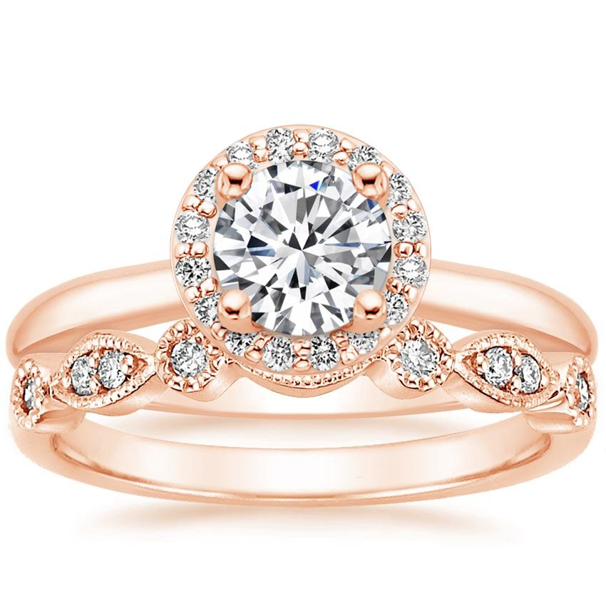 14K Rose Gold Halo Diamond Ring (1/6 ct. tw.) with Tiara Diamond Ring (1/10 ct. tw.)