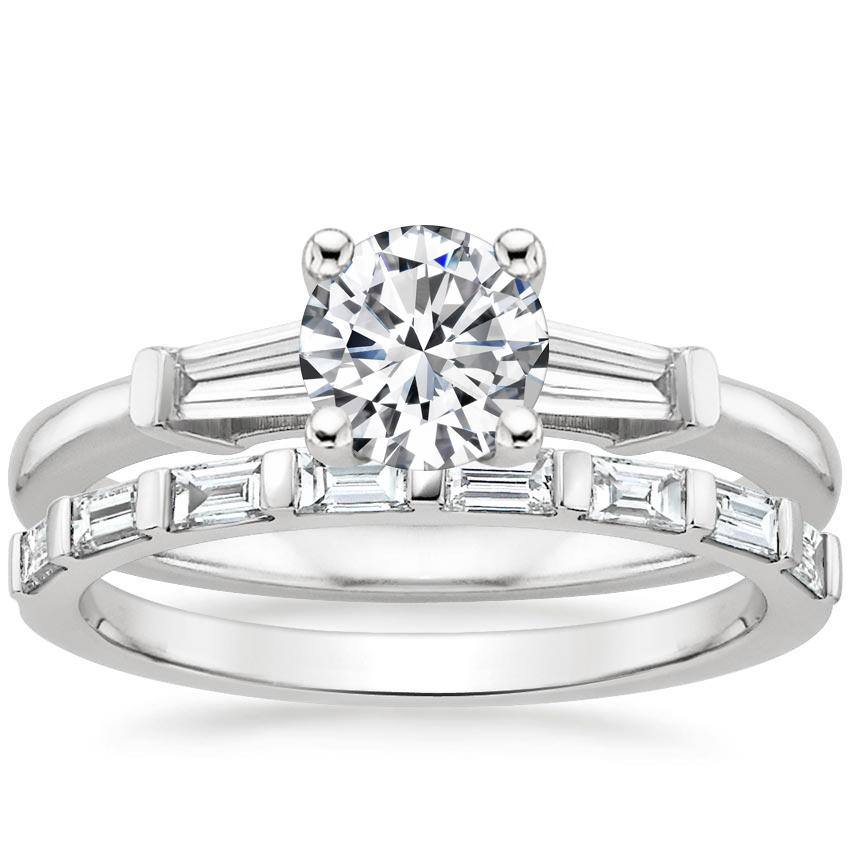 18K White Gold Tapered Baguette Diamond Ring (1/5 ct. tw.) with Barre Diamond Ring (1/4 ct. tw.)