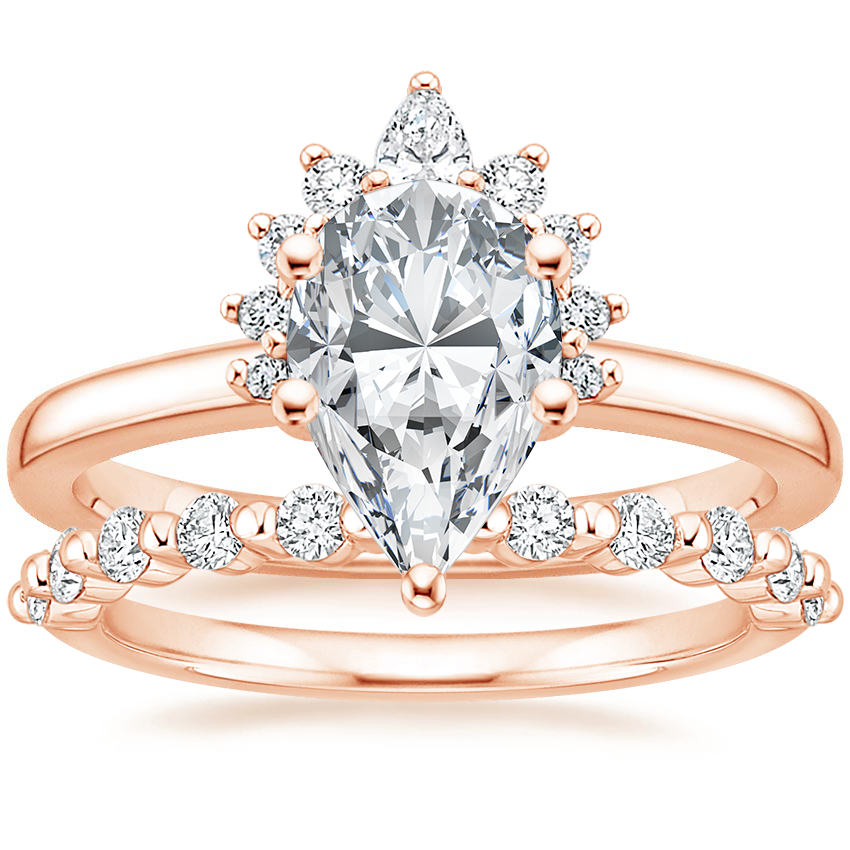 14K Rose Gold Crescent Diamond Ring with Marseille Diamond Ring (1/3 ct. tw.)