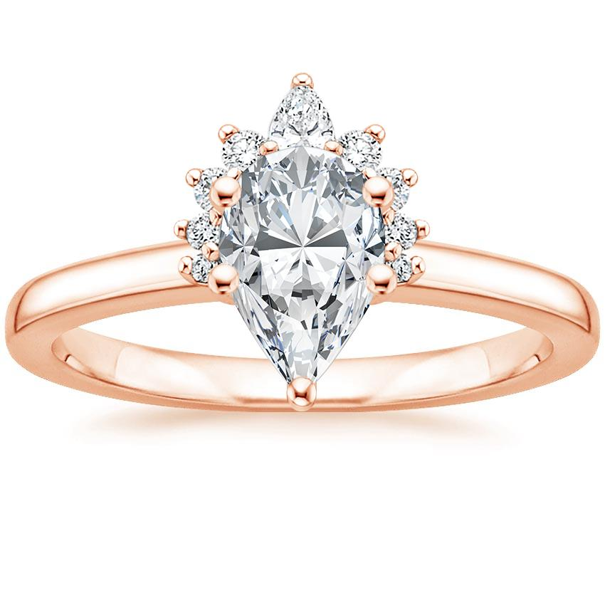 Pear Crescent Diamond Engagement Ring
