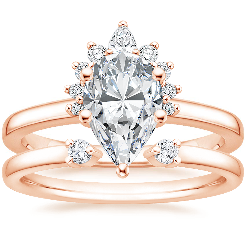 14K Rose Gold Crescent Diamond Ring with Wren Diamond Ring