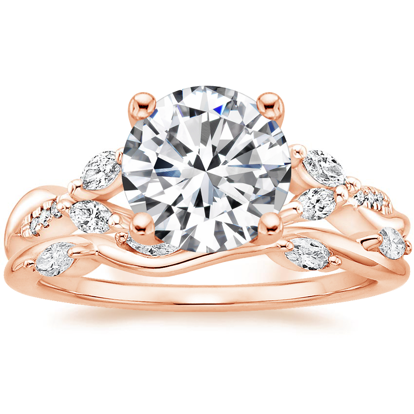 14K Rose Gold Cassia Diamond Ring with Winding Willow Diamond Ring (1/8 ct. tw.)