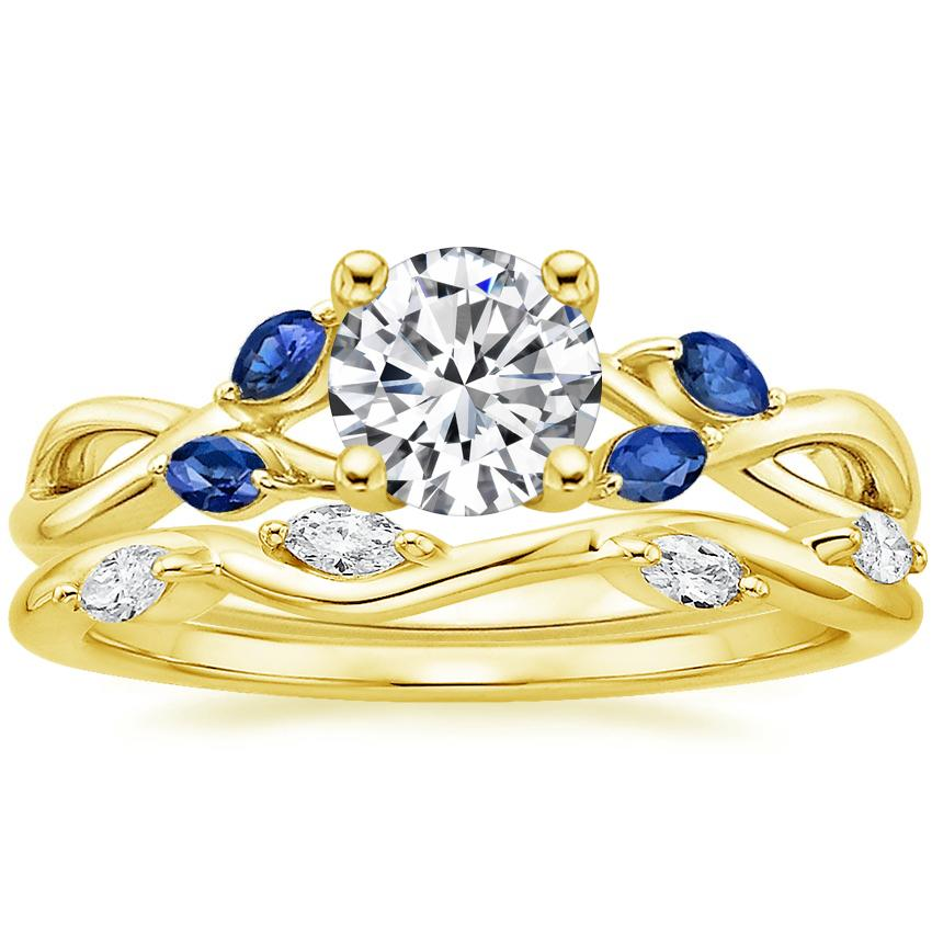 18K Yellow Gold Willow Ring With Sapphire Accents with Winding Willow Diamond Ring (1/8 ct. tw.)