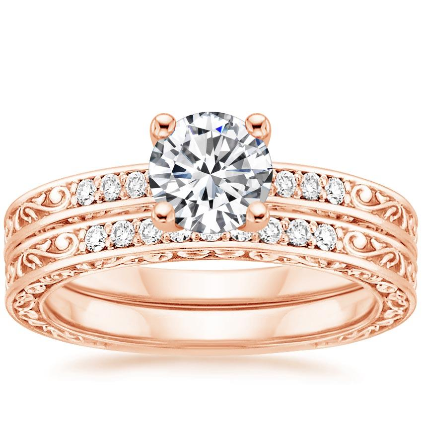 14K Rose Gold Delicate Antique Scroll Diamond Bridal Set