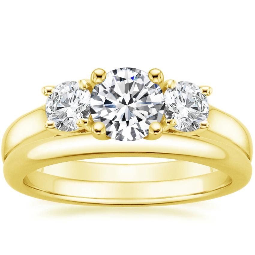 18K Yellow Gold Three Stone Trellis Diamond Ring with 2mm Comfort Fit Wedding Ring
