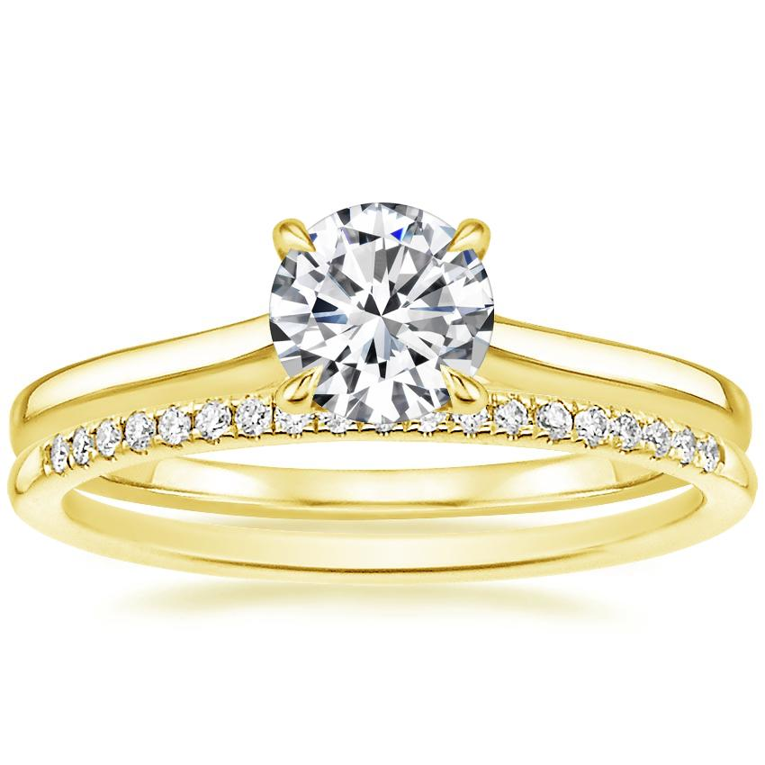 18K Yellow Gold Provence Ring with Whisper Diamond Ring (1/10 ct. tw.)