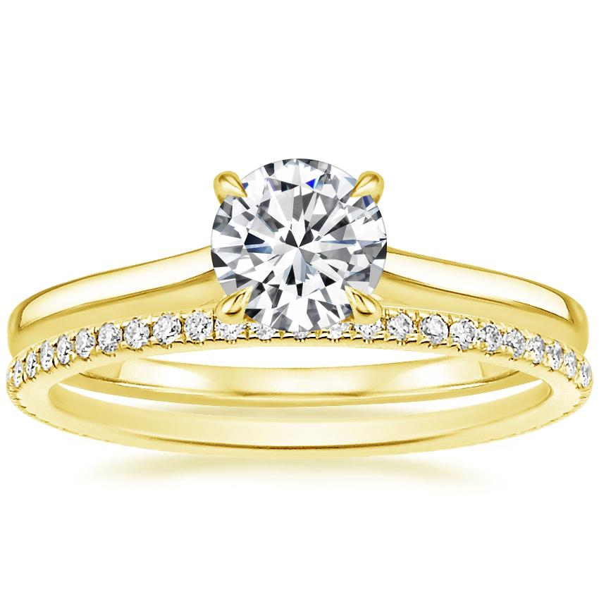 18K Yellow Gold Provence Ring with Whisper Eternity Diamond Ring (1/4 ct. tw.)