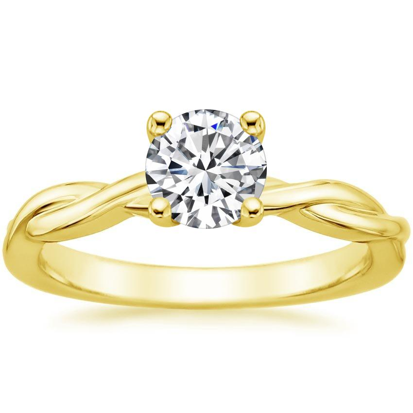 Round 18K Yellow Gold Twisted Vine Ring
