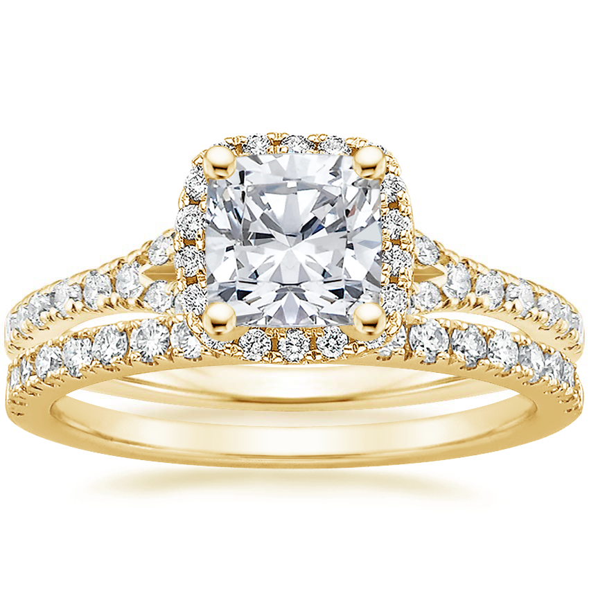 18K Yellow Gold Joy Diamond Ring (1/3 ct. tw.) with Bliss Diamond Ring (1/5 ct. tw.)