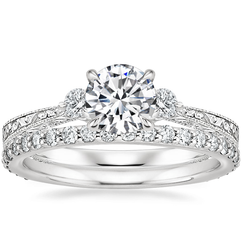 18K White Gold Bristol Diamond Ring with Luxe Petite Shared Prong Diamond Ring (3/8 ct. tw.)