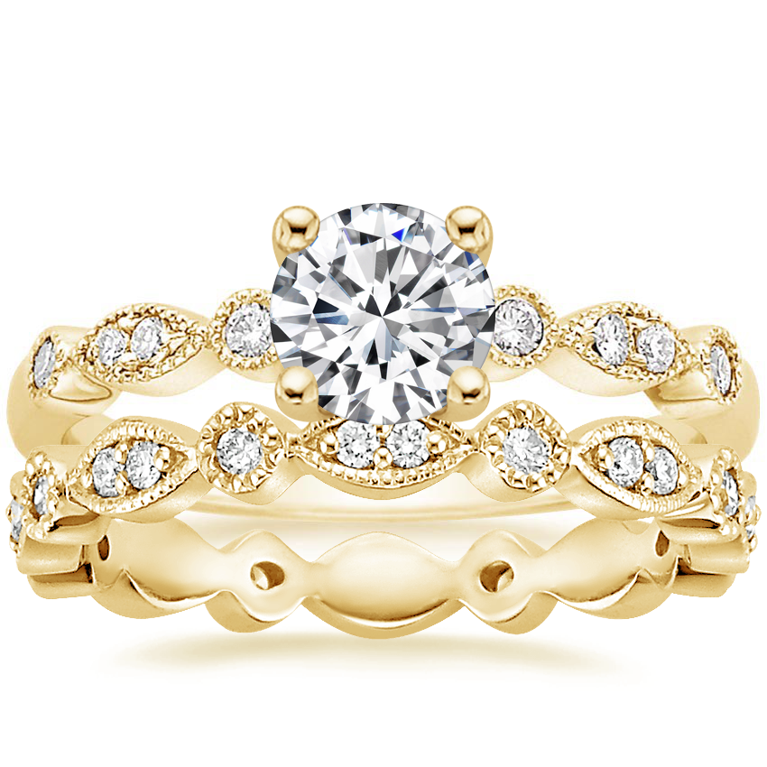 18K Yellow Gold Tiara Diamond Ring (1/10 ct. tw) with Tiara Eternity Diamond Ring (1/4 ct. tw.)