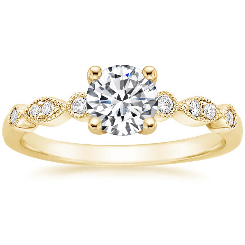Round 18K Yellow Gold Tiara Diamond Ring (1/10 ct. tw.)