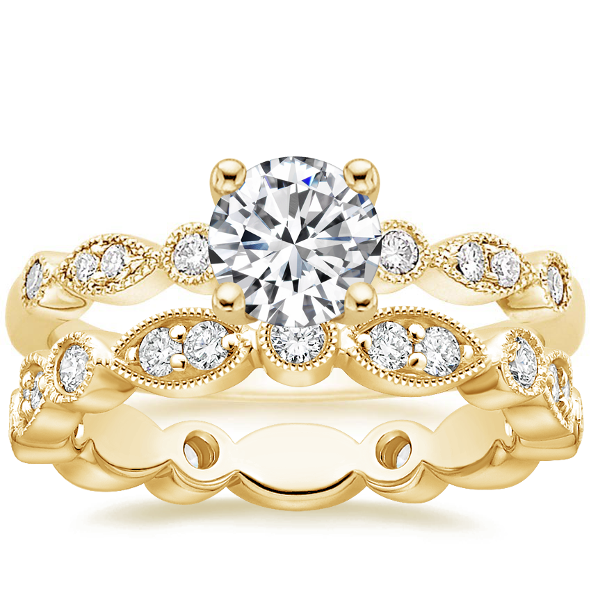 18K Yellow Gold Tiara Diamond Ring (1/10 ct. tw) with Luxe Tiara Eternity Diamond Ring (1/2 ct. tw.)