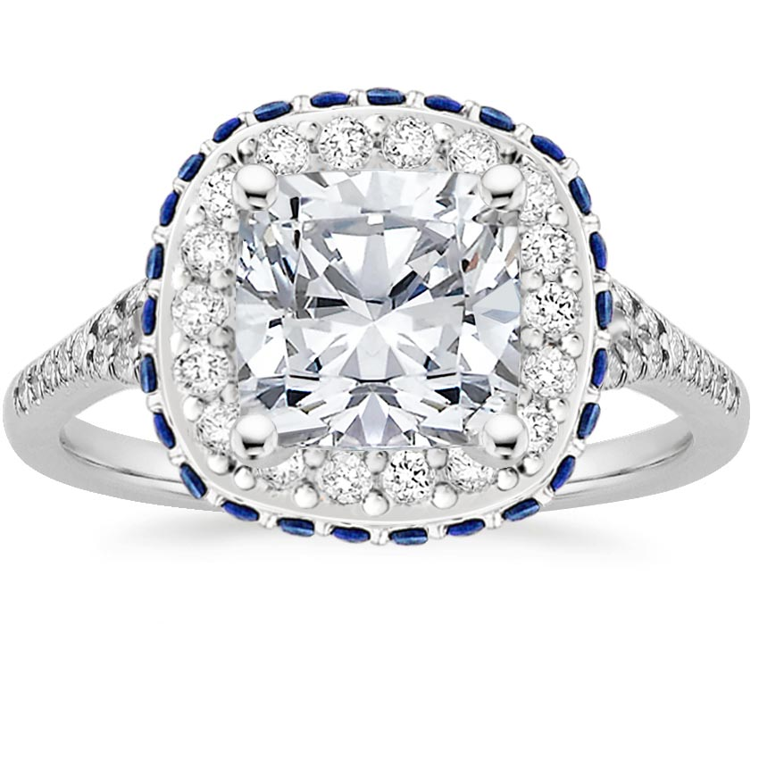 Cushion Platinum Circa Diamond Ring with Sapphire Accents (1/3 ct. tw.)